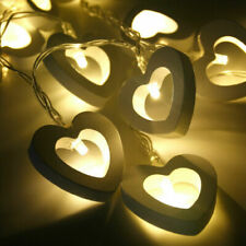 Wedding Wooden Party Lights Battery 10 LED Fairy String Hanging Decor Lamp Heart