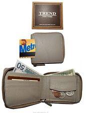 Lot of 2 Men's wallet, Zip around Leather Wallet Natural Grain wallet New In Box
