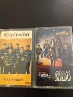 Estrela Tejano Music Tape cassette Lot Of 2 Sobreviviendo and Desde La Oscuridad