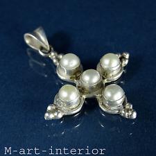 Argent pendentif croix perles 925 sterling silver cross homologue pearls