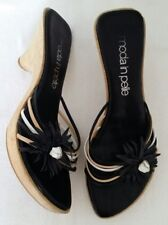 Moda in Pelle Black Strappy Floral Wooden Heel Clog Mules Sandals Size 5 EU 38