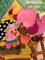 Vintage Easter Card Pink Birds Tree House Flower Box Window Paint Brush