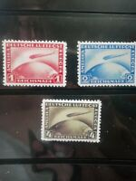 """SC# 35-37 Germany """"Graf Zeppelin Over Globe"""" Stamp Reproduction Place Holders"""