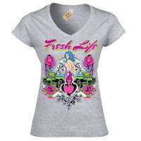 Fresh life T-Shirt cars women new start Womens Ladies V-Neck