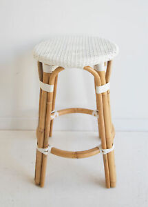 Bistro Stool - Backless - White - synthetic and rattan