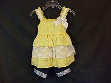 New Little Lass Size 18 Months Yellow White Blue Sleevless Sundress & Shorts