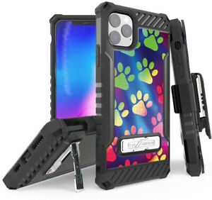 Rugged Case + Belt Clip Combo for Apple iPhone 11 Pro - Rainbow Paw Prints