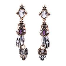 Women Vintage Fashion Earrings Long Ear Stud Rhinestone Silver Skull Dangle
