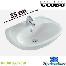 3S LAVABO LAVANDINO BAGNO LARGHEZZA 55 cm NEW ARIANNA CERAMICA GLOBO A5012.BI