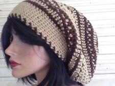 "Beige Brown Soft Tam Hat Huge Beanie Great For Dreadlocks XL 12"" Deep 24"" Band"