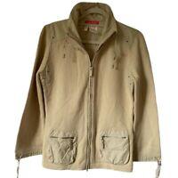 Apriori Womens Jacket Khaki Zip Up Pockets Mock Neck Drawstring L New