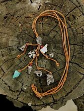 SUSAN CUMMINGS TOTEM NECKLACE LEATHER  SOUTHWEST TURQUOISE STERLING SILVER RARE