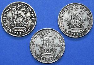 3 x Shilling George VI Date run 1940 - 1942 1/- Silver English Shillings