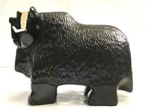 Musk OX ! Soapstone Carving Sculpture Canadian Artist Stone Art Handmade black