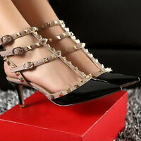 2017 new Womens Sandals shoes Pointed Toe Studded T-Strap High Heels Metal Rivet