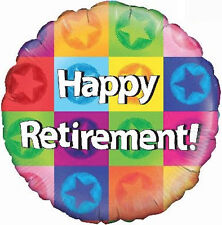 "RETIREMENT PARTY SUPPLIES BALLOON 18"" HAPPY RETIREMENT COLOURFUL STARS BALLOON"
