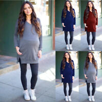 Women Pregnant Maternity V-Neck Long Sleeve Tops Pocket Solid Blouse Sweater
