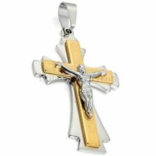 "Mens Stainless Steel Jesus Crucifix Cross Prayer Pendant Necklace with 22"" Chain"