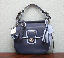 COACH Legacy Archival 2-Tone Leather WILLIS Crossbody Satchel 22409 NAVY BLUE