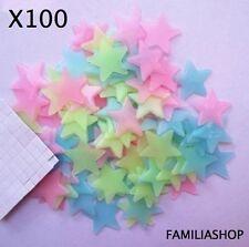 Lot 100 étoiles phosphorescente multicolore lumineuse nuit déco chambre enfant