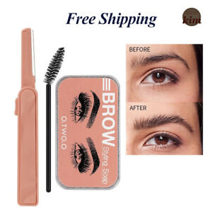 3Pcs Set Fine Pitch Eyebrow Trimming Knife brow styling soap/gel/wax and Brush