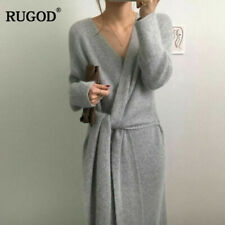 Gorgeous Grey Belted Cashmere Sweater Dress - V Neck - One Size