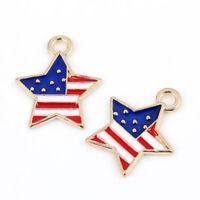 10Pcs USD American Flag Enamel Charm Pendant DIY Necklace/Bracelet Craft Making
