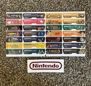 28 Piece Sheet Sticker Label Nintendo Gameboy Advance GBA Feature Pokémon & More