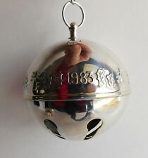 Vintage Wallace 1983 Silver Plated Christmas Embossed Bell Ornament No Box