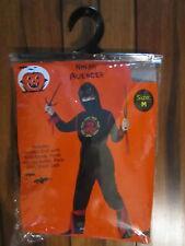 Boys NINJA  Halloween Costume sz. Med Hooded Shirt with wrist bands Pants + NEW