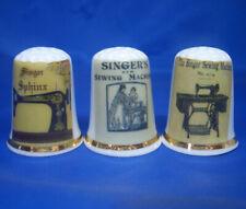 Birchcroft China Thimbles Pfaff Sewing Machine Stamps Set of Three