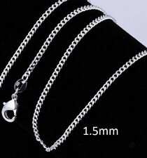 Genuine 925 Sterling Silver Curb Chain Necklace 16-24 Inches N40 UK Seller