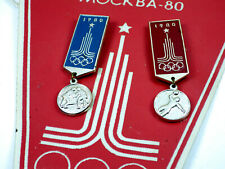 Vintage USSR Soviet Russian Moscow Olympic Games 1980  Pennant +  3 pcs Badges