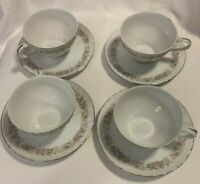 Set 4 Dansico Fine China Japan Teahouse Rose Swirl Cups and Saucers Pink Floral