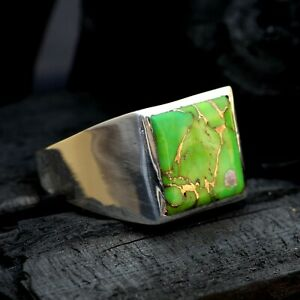 925 Sterling Silver Overlay Green Copper Turquoise Gemstone Boys Mens Ring