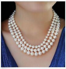 Triple Strands 8-10mm Round Akoya White Pearl Necklace18-20inch AAA+++