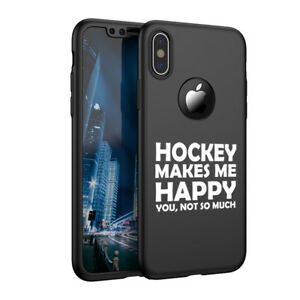 For Apple iPhone X XS Max XR 360° Thin Slim Case + Screen Hockey Makes Me Happy