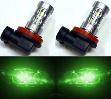LED 50W H8 Green Two Bulbs Fog Light Replace Plug Play OE Show Use Off Road