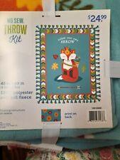 New listing No Sew Throw Kit 48 X 60 Anti Pill Fleece Fox Follow Your Own Arrow New