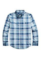 NEW Ralph Lauren Big Boys S,M Plaid Shirt Navy Blue Stretch Cotton Poplin LS