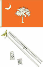 3x5 State of South Carolina Orange Flag White Pole Kit Set 3'x5'
