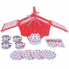 Bigjigs Toys Spotted Basket Tea Set – Kids/Children 3+