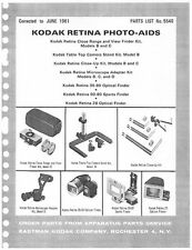 Kodak Retina Photo Aids Illustrated Parts List with Exploded Views