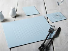 Set of 6 PASTEL BLUE Embossed Leatherboard PLACEMATS Table Mats & 6 COASTERS