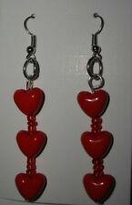 Orecchini di bigiotteria perle rosse con cuore