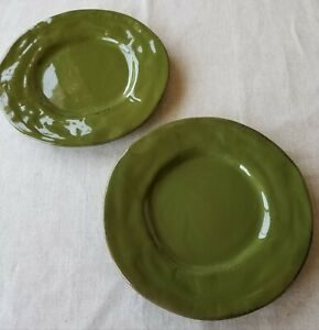 Pier 1 Imports Earthenware Hand Painted Green Italy Salad Plates Set of 2