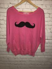 Derek Heart Women's Mustache Sweater Color Pink and Black Size XL