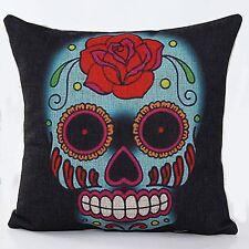 1x Charcoal Black Colourful Rose Sugar Skull Cushion Cover