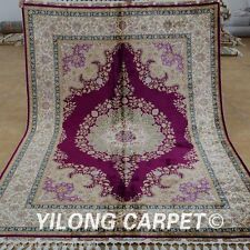 Yilong 5.6'x8.2' Medium Silk Area Rugs Hand Knotted Hand-made Kashan Carpet 1828