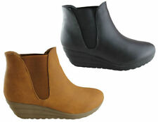 Pull on Synthetic Wedge Ankle Women's Boots